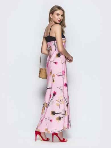 Розовое платье-макси с принтом и контрастным лифом - 39188, фото 3 – интернет-магазин Dressa