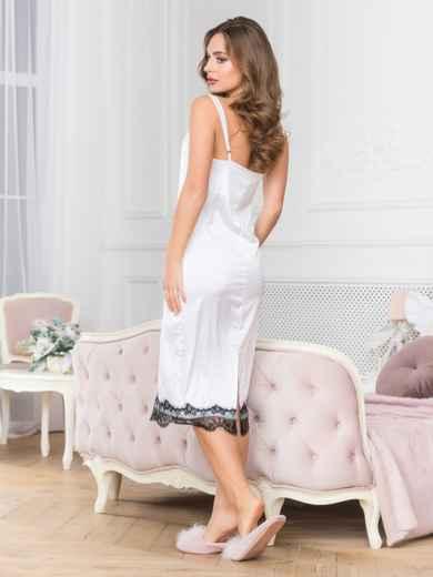 Шелковая ночная рубашка белого цвета - 18984, фото 2 – интернет-магазин Dressa