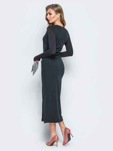 Трикотажное платье с рукавами-митенками черное - 18064, фото 3 – интернет-магазин Dressa