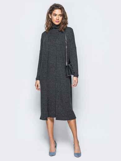 Трикотажный комплект с платьем-гольф и кардиганом черный - 17473, фото 1 – интернет-магазин Dressa