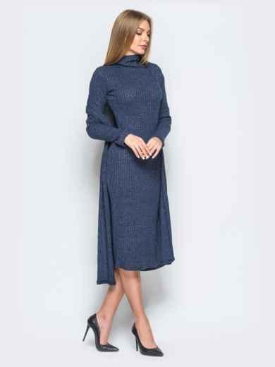 Трикотажный комплект с платьем-гольф и кардиганом тёмно-синий - 17470, фото 2 – интернет-магазин Dressa