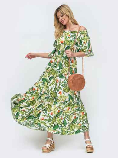 Зелёное платье с принтом и открытыми плечами  46854, фото 1