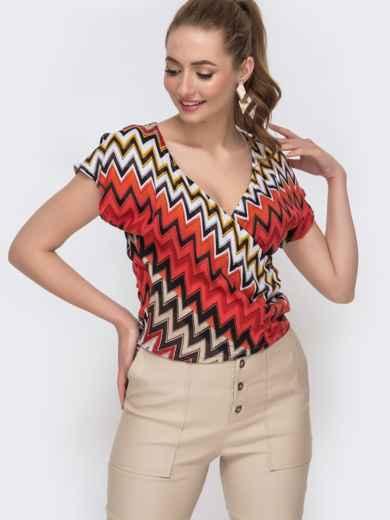 Коралловая блузка приталенного силуэта с принтом 47020, фото 1