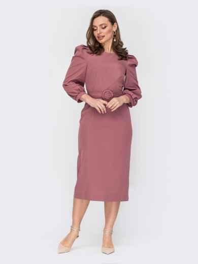 Платье пудрового цвета с объемными рукавами 53140, фото 1