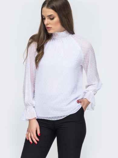 Белая блузка с рукавом-реглан и бантом по спинке 45523, фото 1