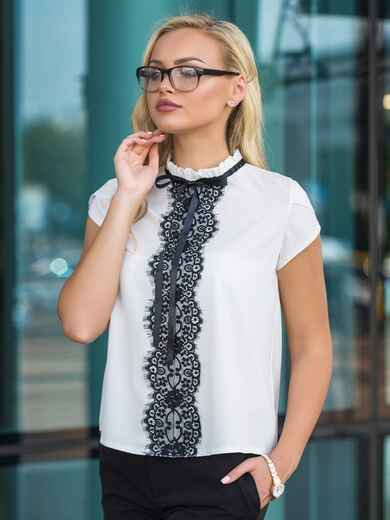 Блузка с контрастным кружевом и потайной молнией белая - 14217, фото 1 – интернет-магазин Dressa