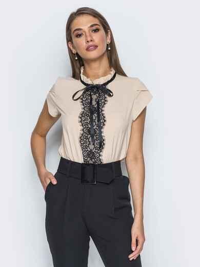 Блузка с контрастным кружевом и потайной молнией бежевая - 14216, фото 1 – интернет-магазин Dressa