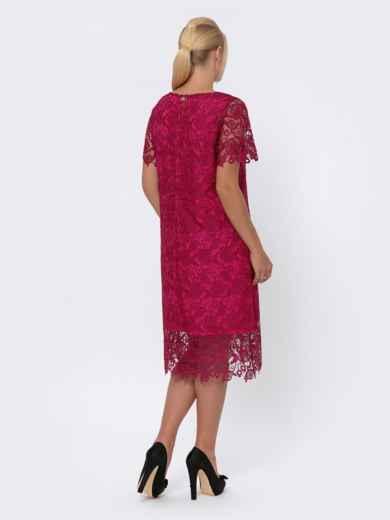 Бордовое платье прямого кроя из кружева 42704, фото 2
