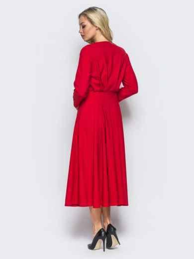 e38a2b6a1dbe Красное платье со вшитым поясом и расклешенной юбкой - 15680, фото 4 –  интернет-