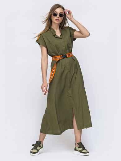 Льняное платье свободного кроя цвета хаки 47028, фото 1