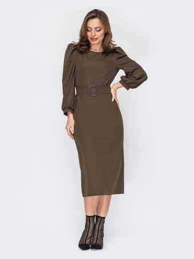 Платье цвета хаки с объемными рукавами 53139, фото 1