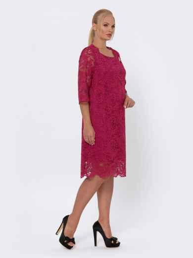 Платье-миди из кружева с рукавом 3/4 бордовое 42702, фото 2
