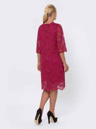 Платье-миди из кружева с рукавом 3/4 бордовое 42702, фото 3