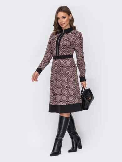 Платье-миди с принтом и юбкой-трапецией розовое 52102, фото 1