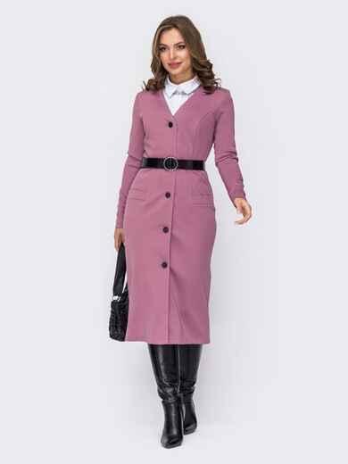 Платье приталенного кроя с треугольным вырезом розовое 52099, фото 1