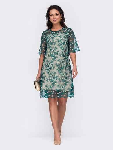 Прямое платье большого размера из гипюра зеленое 52140, фото 1