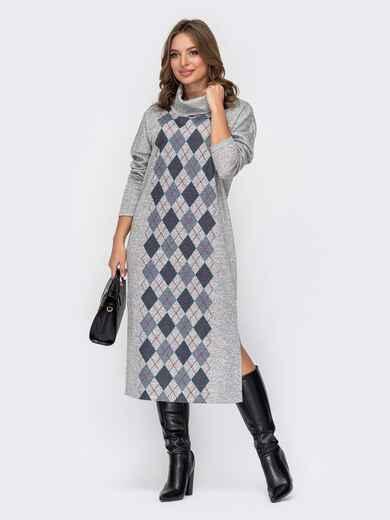 Прямое платье в клетку с разрезами по бокам серое 52105, фото 1