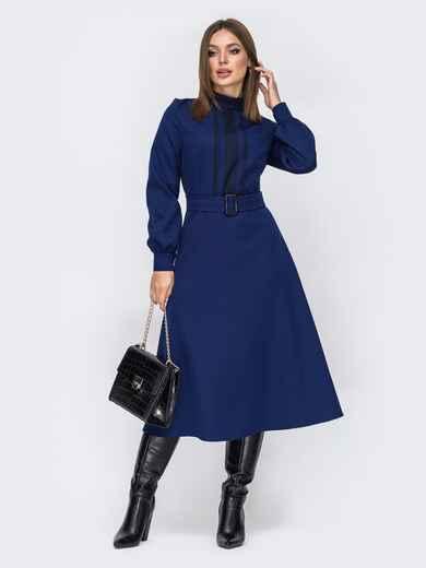 Расклешенное платье с воротником-стойкой тёмно-синее 52104, фото 1