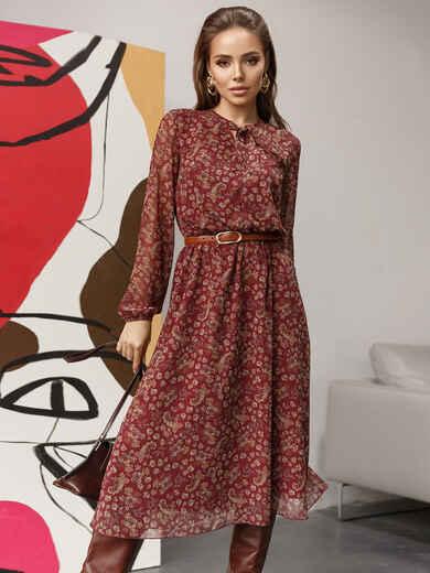 Шифоновое платье с принтом и воротником-аскот бордовое 52103, фото 1