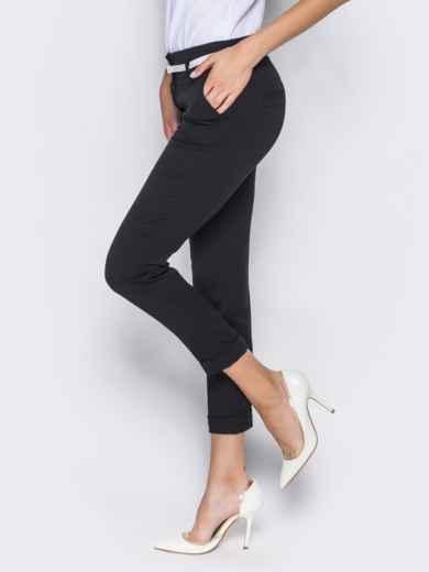Укороченные брюки со шлёвками для пояса черные - 14403, фото 4 – интернет-магазин Dressa