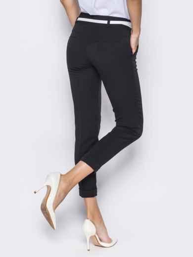 Укороченные брюки со шлёвками для пояса черные - 14403, фото 5 – интернет-магазин Dressa