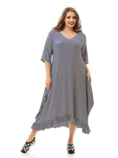 Асимметричное платье батал в полоску с воланом по низу 46475, фото 1