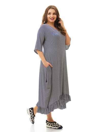 Асимметричное платье батал в полоску с воланом по низу 46475, фото 2