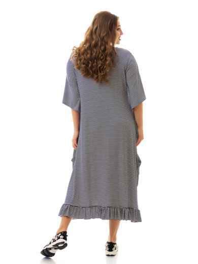 Асимметричное платье батал в полоску с воланом по низу 46475, фото 3