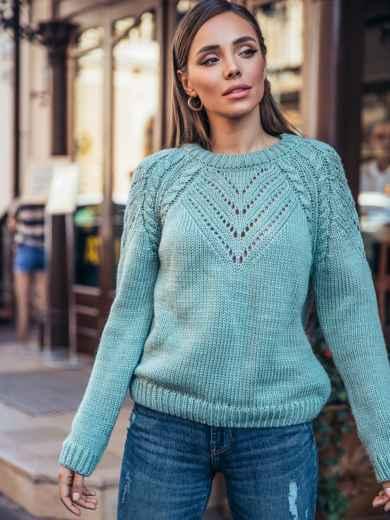 Вязаный свитер мятного цвета с перфорацией 55156, фото 1