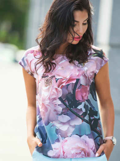 Лёгкая блузка с цветочным принтом 10250, фото 1