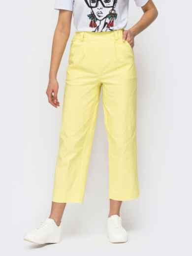 Желтые укороченные брюки прямого кроя 53977, фото 1