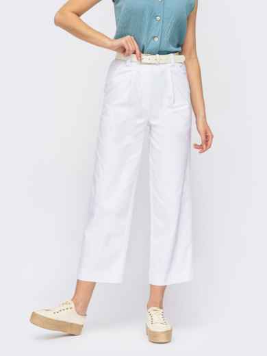 Белые укороченные брюки прямого кроя 53978, фото 1
