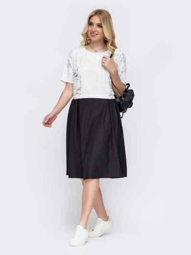 Белое платье большого размера с принтом и расклешенной юбкой 49222, фото 1