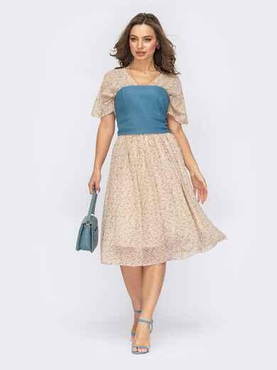 Бежевое платье из шифона с джинсовым корсетом 53816, фото 1