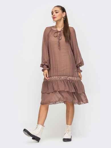 Бежевое платье из шифона с воланом по низу 50800, фото 1