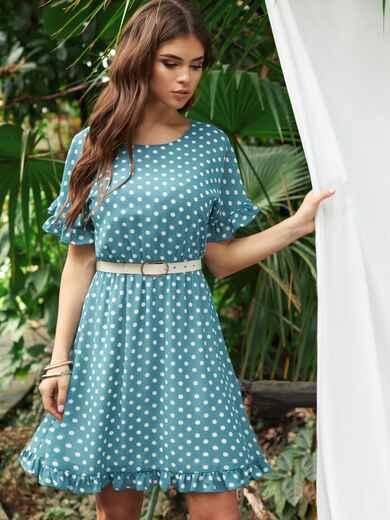 Бирюзовое платье из шифона в горох с юбкой-клеш 53678, фото 1