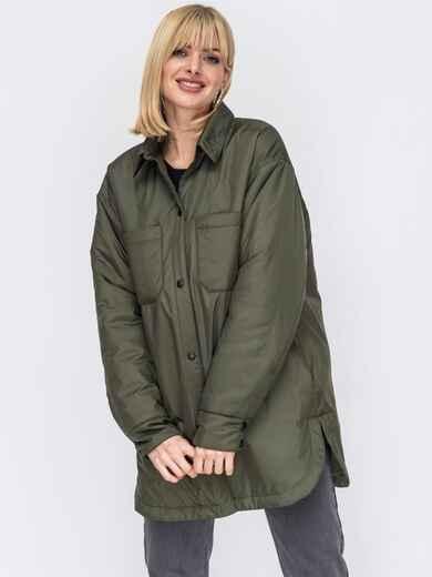 Демисезонная куртка цвета хаки на кнопках 53071, фото 1