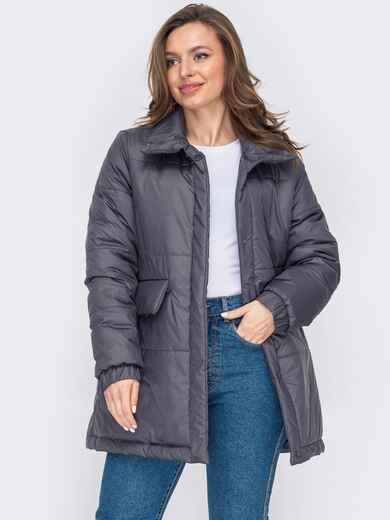 Демисезонная куртка прямого кроя графитового цвета 53070, фото 1