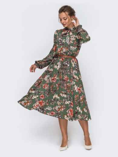 Платье цвета хаки с цветочным принтом и воротником-аскот 50629, фото 2