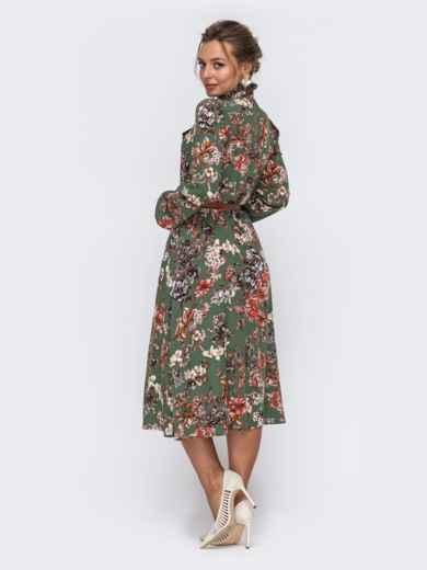 Платье цвета хаки с цветочным принтом и воротником-аскот 50629, фото 4
