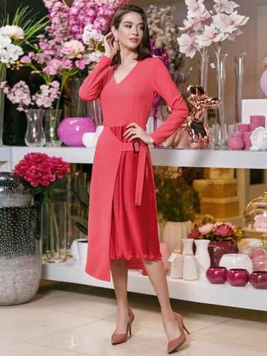 Платье из креп-дайвинга с плиссированной вставкой красное 20026, фото 1