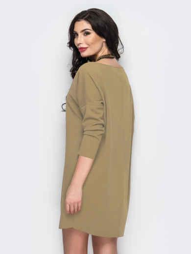 Платье с необработанными швами бежевое - 13812, фото 2 – интернет-магазин Dressa