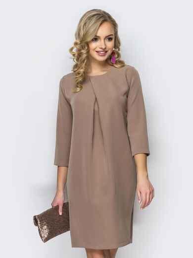 Платье свободного кроя со складкой бежевое 11105, фото 1