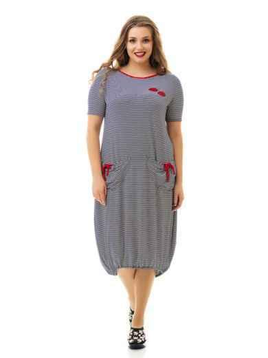 Приталенное платье батал в полоску 46472, фото 1