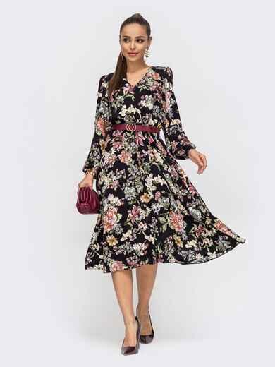Расклешенное платье из штапеля с цветочным принтом чёрное 50628, фото 1
