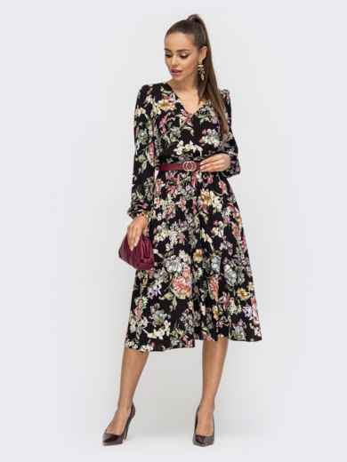Расклешенное платье из штапеля с цветочным принтом чёрное 50628, фото 2