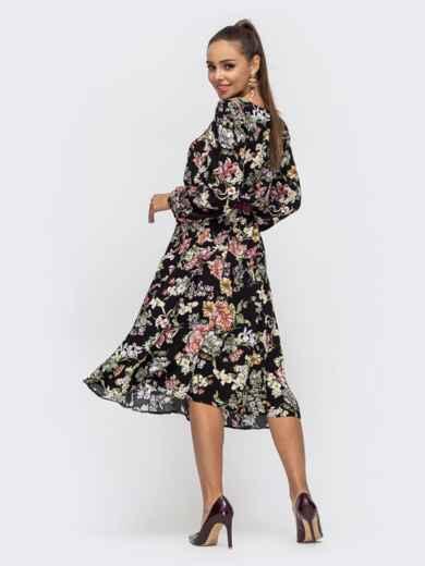 Расклешенное платье из штапеля с цветочным принтом чёрное 50628, фото 3