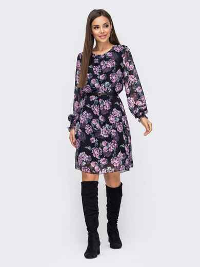 Шифоновое платье чёрного цвета с цветочным принтом 51192, фото 1