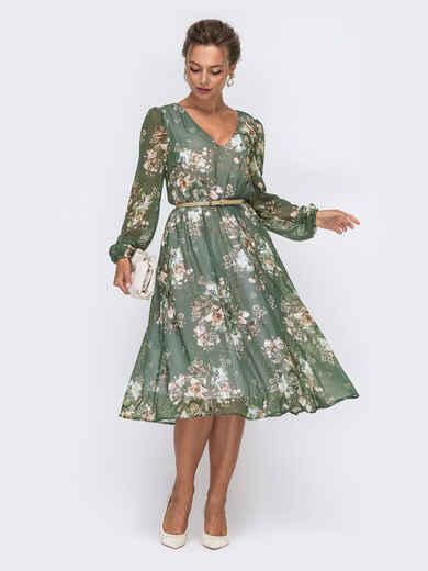 Шифоновое платье с цветочным принтом хаки 50627, фото 1