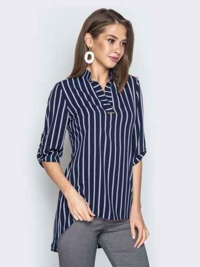 Синяя блузка из софта в полоску с удлиненной спинкой - 21377, фото 2 – интернет-магазин Dressa